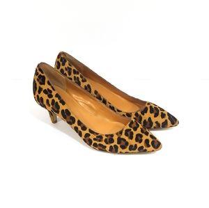 J CREW Esme Calf Hair Leopard Print Kitten Heels 5